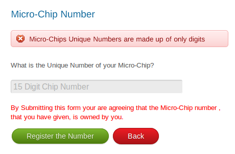 Screenshot of Format Error in Microchip Number