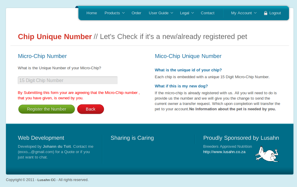 Screenshot of Microchip Register Screen