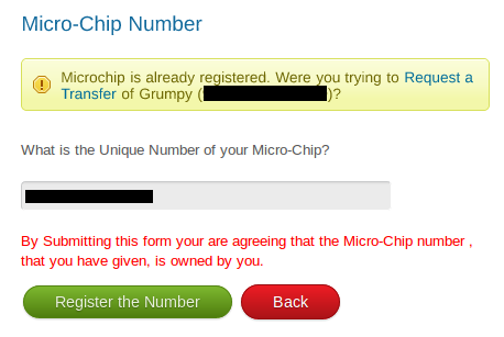Screenshot of Already Existing Microchip Number