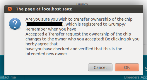Screenshot of the Dialog that ask if you are sure about the Transfer