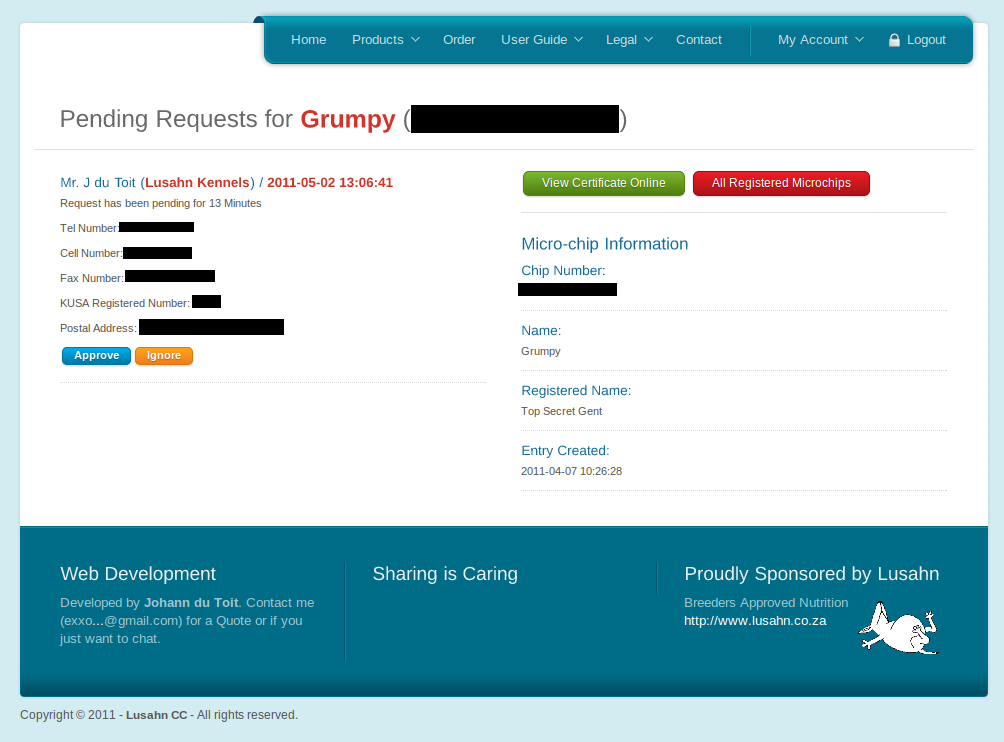 Screenshot of Page Listing All Pending Requests